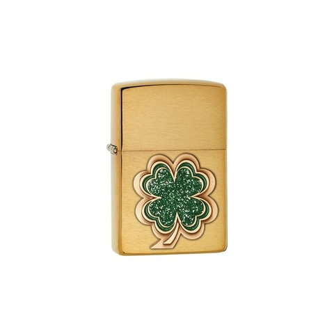 Zippo Clover Brushed Brass 28806