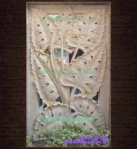 mẫu tranh phù điêu hoa lá thạch cao trang trí