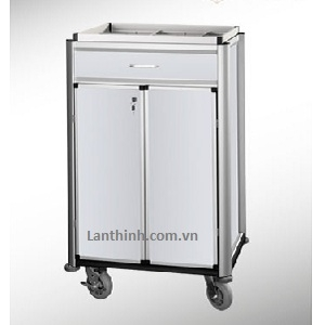 Aluminium beverage restocking cart with door and drawer, 3481221DW