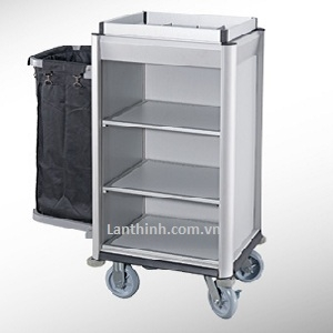 Aluminium maid cart, Anodised finished frame, light grey laminated panel, 3161221