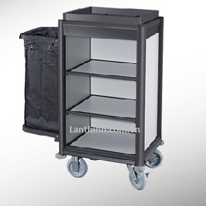 Aluminium maid cart, black finish frame, light grey laminated pane, 3161421