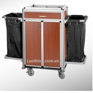 Aluminium maid cart with door and drawer, 3162232DW