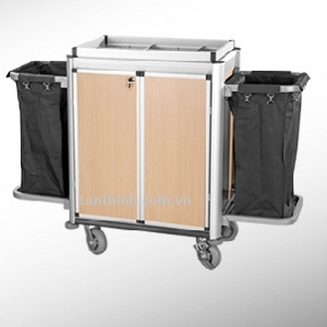 Aluminium maid cart with door, Anodised finished frame, 3162211D