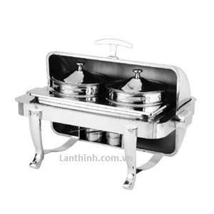 Silver Steel Oblong Flip Soup Station(double oven)  5L- 2; GB-A686