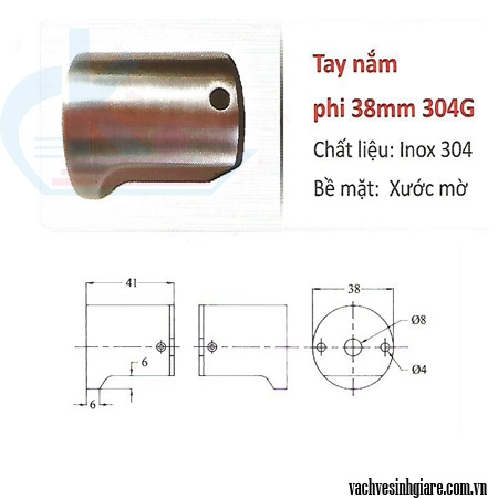 Tay nắm phi 38mm 304G
