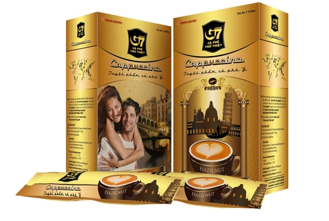 G7 Cappuccino vị Mocha & Hazelnut & Chocolate 12 sticks 18gr