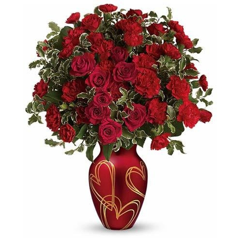 Hearts Of Gold Red Rose Bouquet - SF162