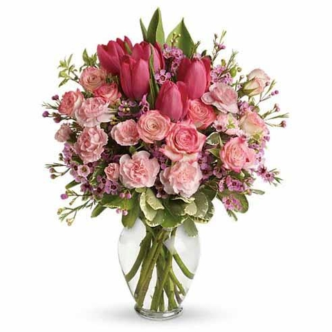 Pink Tulip & Rose Bouquet - SF112