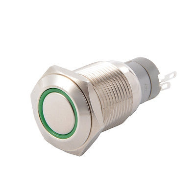 PWS-1 Button switch 16mm 12V Green