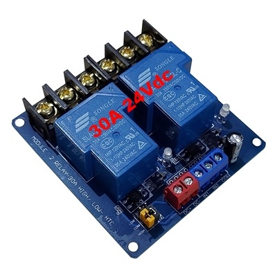 30A 24Vdc 2 relay module with optocoupler HTC