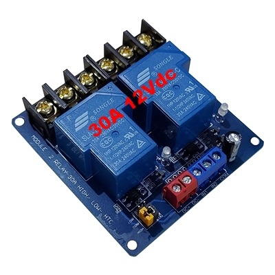 30A 12Vdc 2 relay module with optocoupler HTC