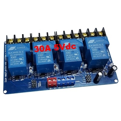 30A 5Vdc 4 relay module with optocoupler HTC