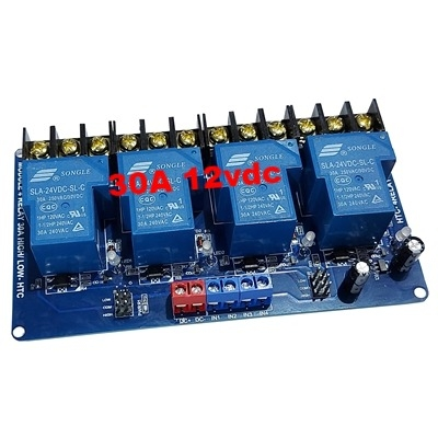 30A 12Vdc 4 relay module with optocoupler HTC