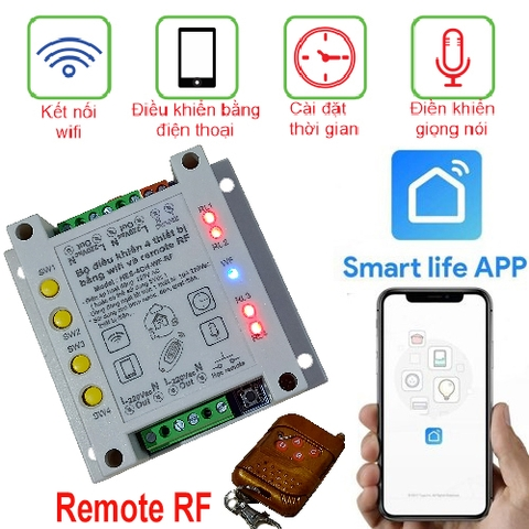 Smart Switch 4CH WiFi APP Smart Life + Remore RF