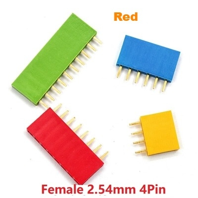 Straight Female Single Row 1*4 Pin Red