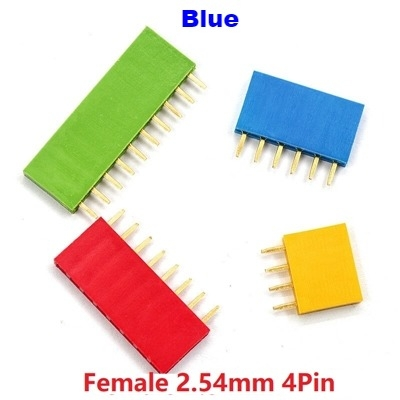Straight Female Single Row 1*4 Pin Blue