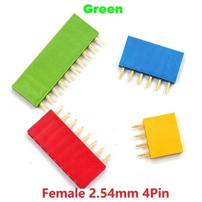 Straight Female Single Row 1*4 Pin Green