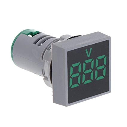 AC 20-500V LED Digital Voltmeter 22MM Green