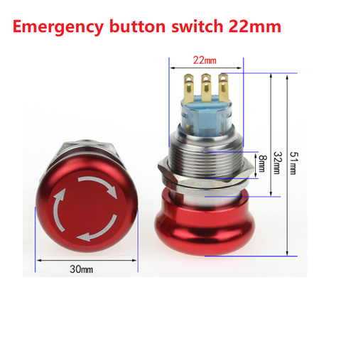 Emergency button switch 22mm