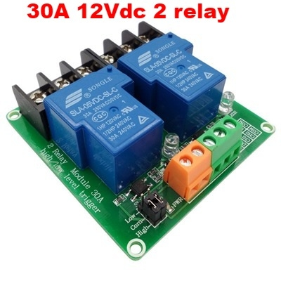30A 12Vdc 2 relay module with optocoupler