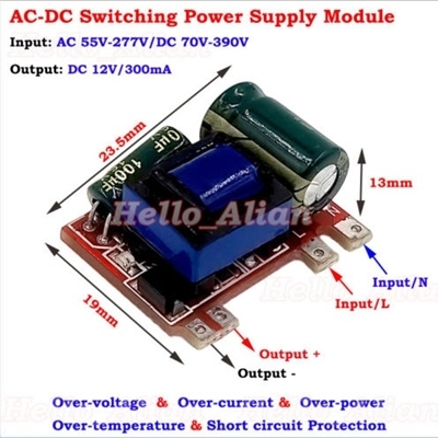 AC-DC Buck Step Down 12V-300mA