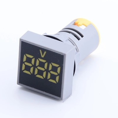 AC 60-500V LED Digital Voltmeter 22MM Yellow