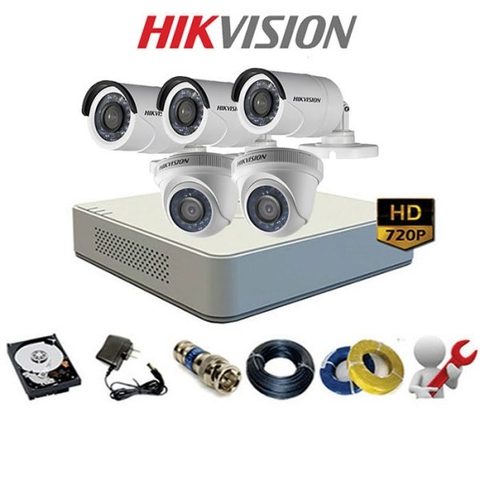 TRỌN BỘ 5 CAMERA HIKVISION-ANALOG Silver 1A (1MP-720P)