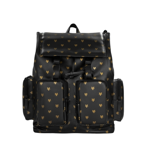 Logo Pattern Backpack - Black