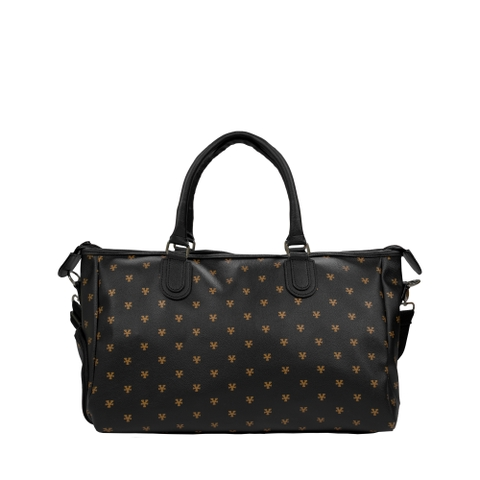 Logo Pattern Bowler Bag - Black