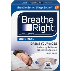 Breathe Right Nasal Strips. Hộp 30 miếng dán