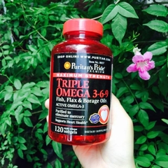 Maximum Strength Triple Omega 3 6 9 Puritan's Pride 120 Viên