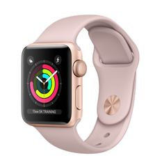 Apple Watch Series 3 GPS, 38mm Gold Aluminum Case with Pink Sand Sport Band (MQKW2)