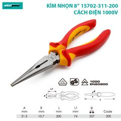Kìm mũi nhọn 200mm Whirlpower 15702-311-200
