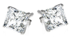 Hoa tai 2ct Sterling Silver Princess Cut