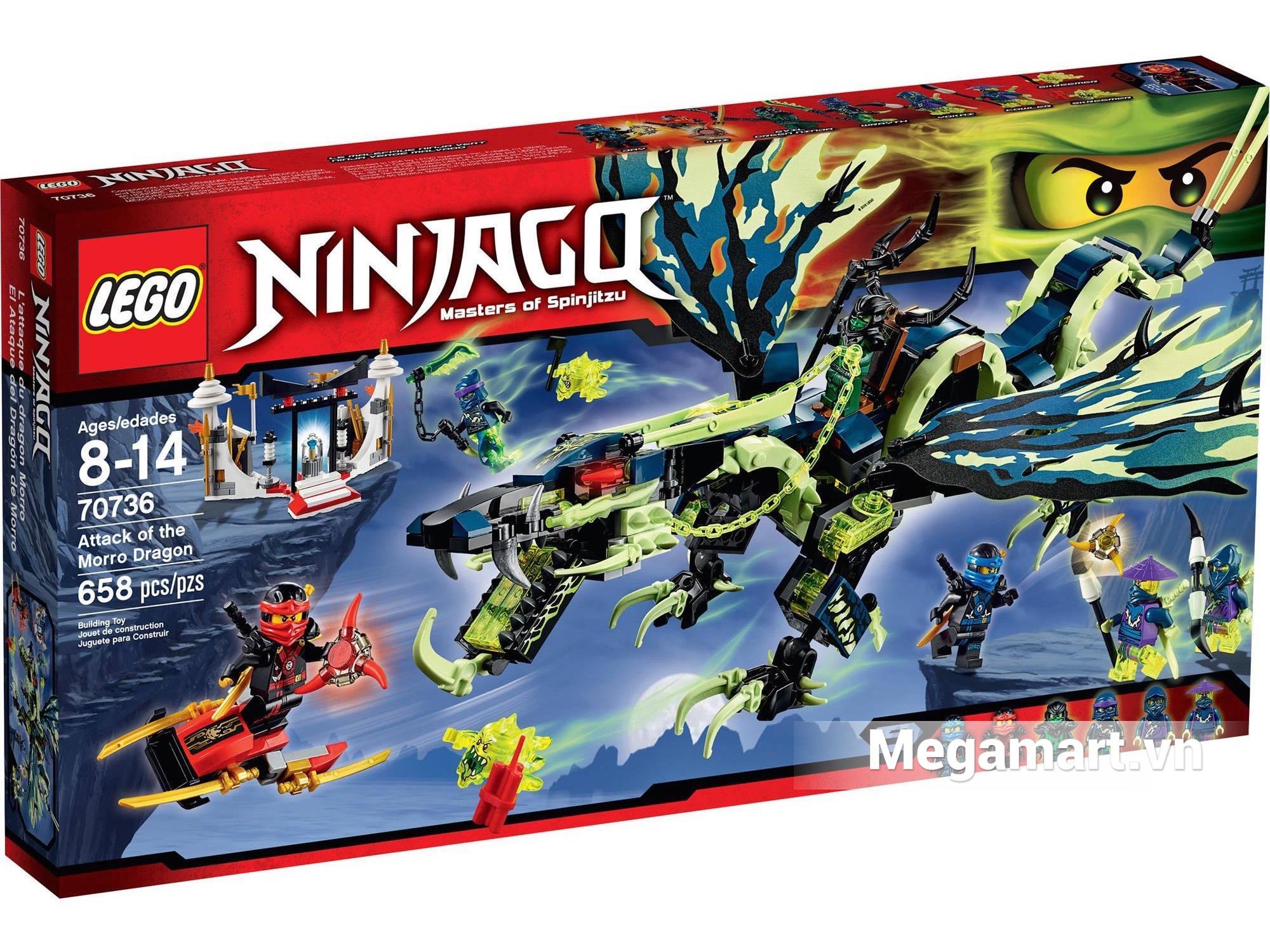 Vỏ hộp sản phẩm Lego Ninjago 70736 - Cuộc Tấn Công Của Rồng Morro