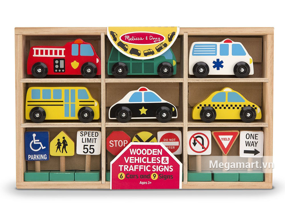 Hình ảnh sản phẩm đồ chơi gỗ Melissa & Doug Bộ xe và biển báo giao thông