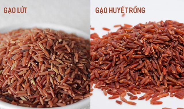 phân biệt gạo lứt và gạo huyết rồng