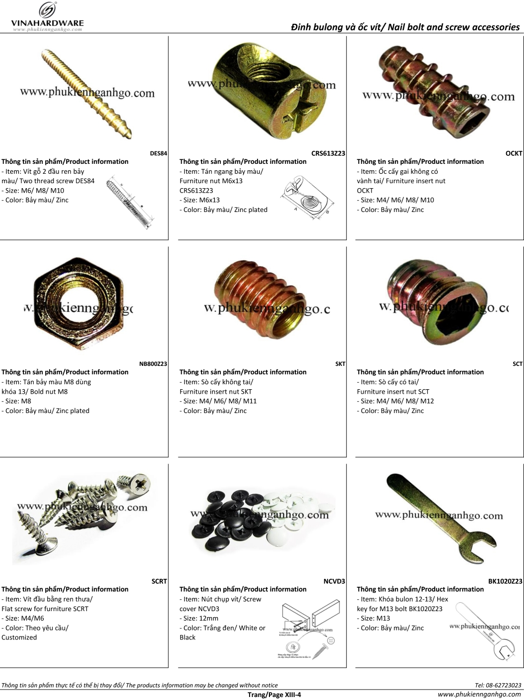 Catalogue Bulong Ốc vít