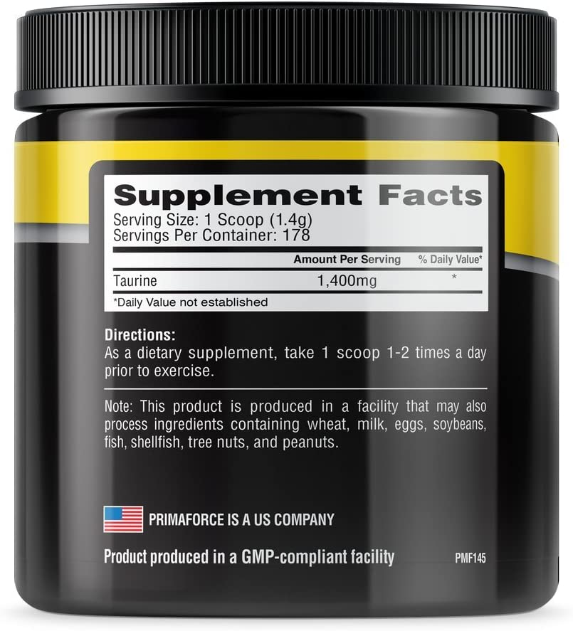 PrimaForce-Taurine-Nutrition-facts-gymstore