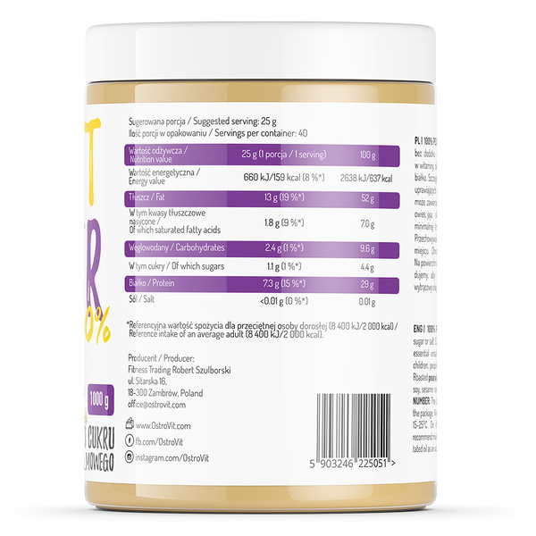 bơ-đậu-phộng-ostrovit-peanut-butter-nutrition-fact-label-gymstore