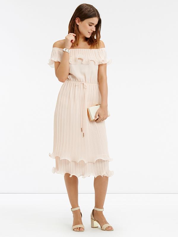 Oasis Pleated Ruffle Bardot Midi Dress