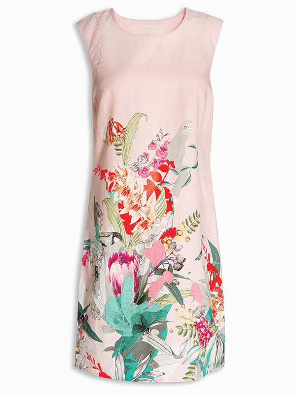 Đầm hoa Next - Floral Linen Blend Dress Next