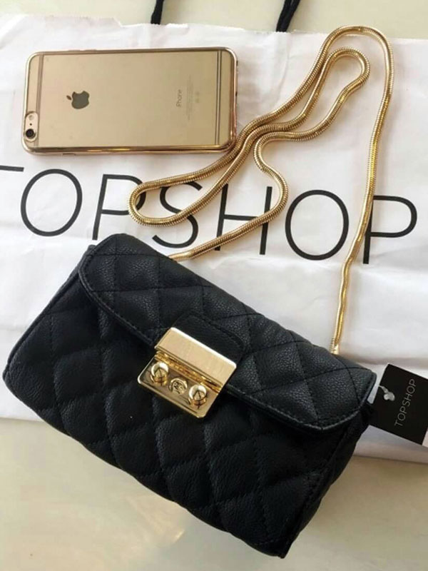 TOPSHOP Premium Chain Leather Shoulder Bag