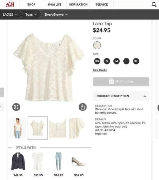 Áo H&M tay xòe