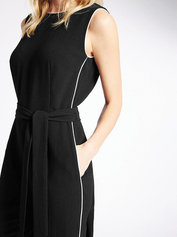 Contrast Piped Jumpsuit with Belt