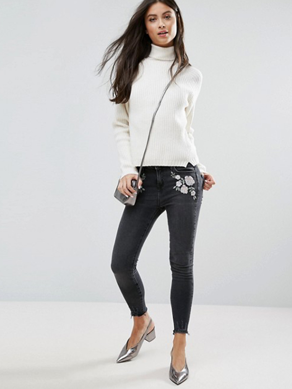 Petite Embroidered Skinny Jean ASOS