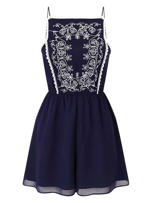 Miss Selfridge Petite Embroidered Playsuit -TOPSHOP