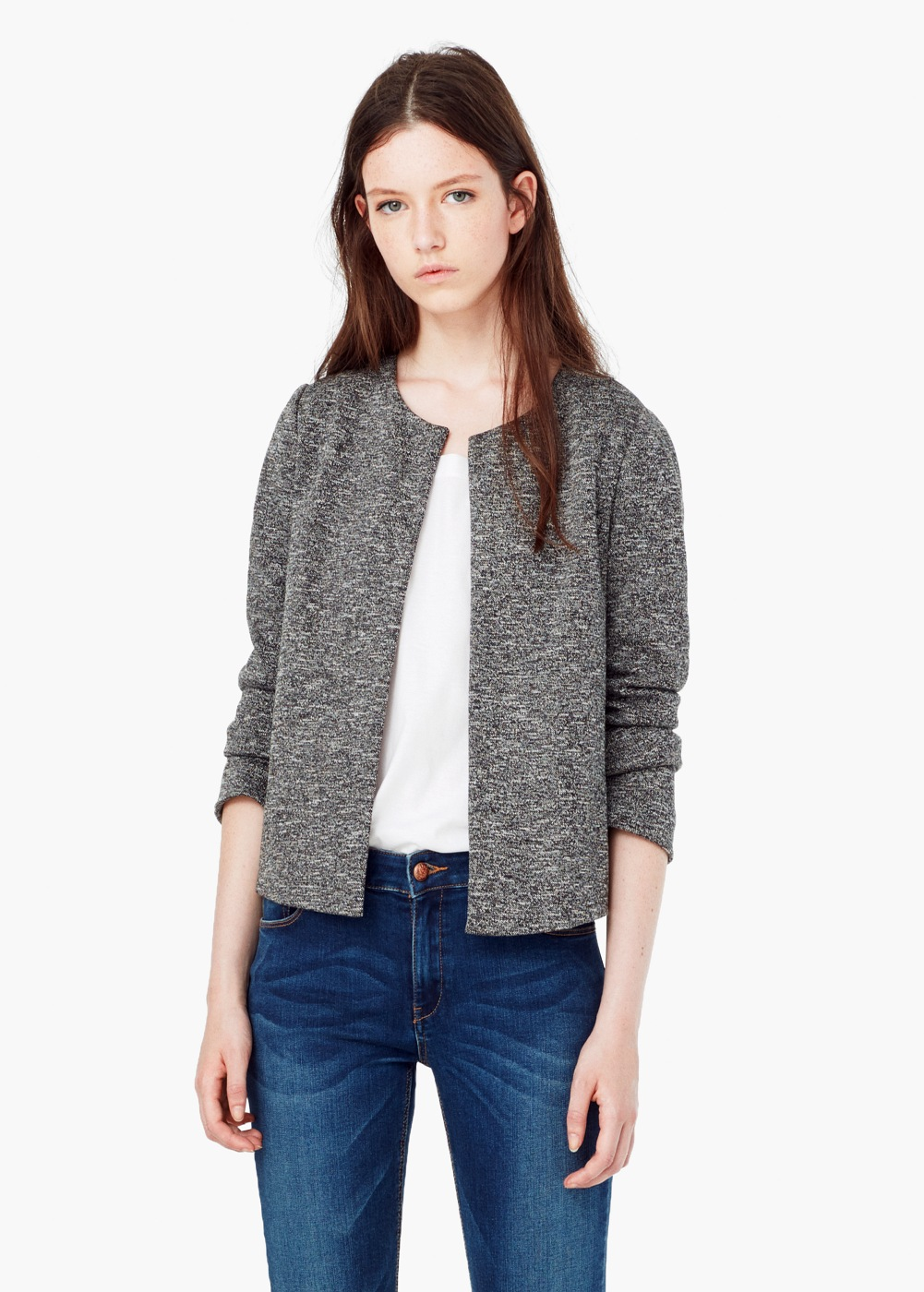 Flecked Cotton Blend Jacket MANGO More
