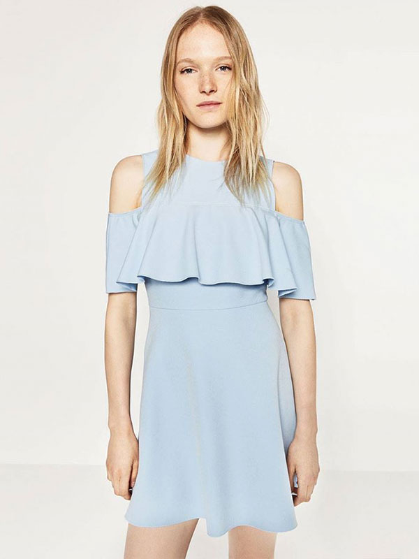 Skater Dress with cutout shoulder by ZARA