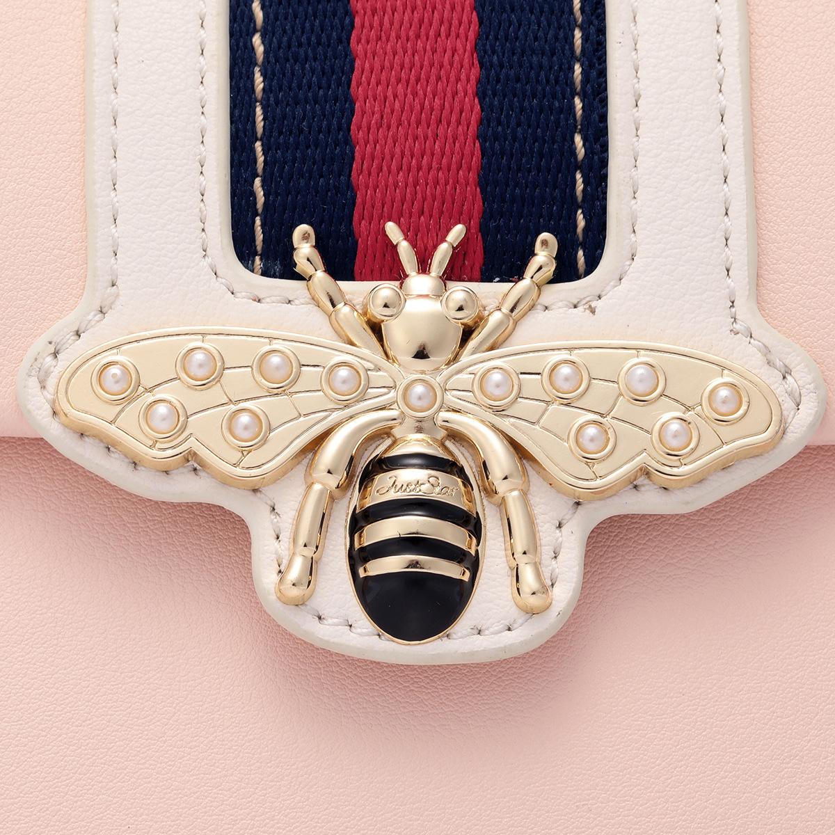 Túi Just Star hộp sọc giữa đính ong - JS49